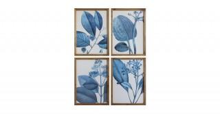 Wood Framed Blue Botanical Wall Decor (Random 1 pc)