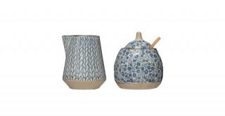Round Hand-Painted Stoneware Sugar Pot & Wood Spoon & Round Creamer Set of 2