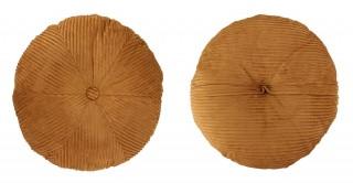 Ribbed Velvet Round Cushion 50 cm Gold