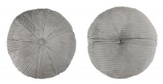 Ribbed Velvet Round Cushion 50 cm Grey