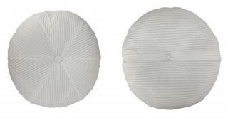 Ribbed Velvet Round Cushion 50 cm White