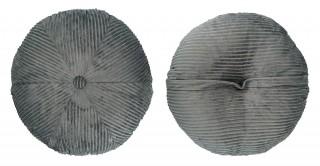 Ribbed Velvet Round Cushion 50 cm Blue