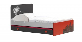 Spider Red Kids Bed 103 x 95 cm + Pullout + Safety Bar