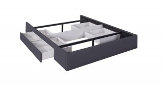 Bed Base  With 2 Drawers 160X200 Dark Grey