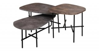 Monica Set Of 3 Coffee Tables Stone/Blk