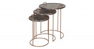 Sisley 3Pcs. Nested Table Stone/Rosegold