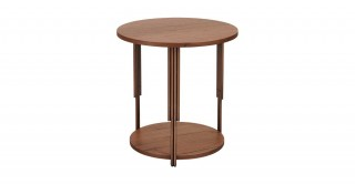 Toscana End Table - Walnut/Brass