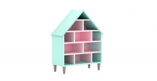 House Kids Book Case White/Green/Pink
