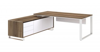 Linz Manager Table Walnut/White