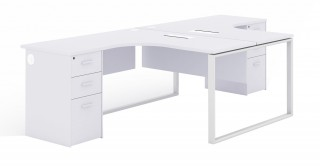 Linz L-Shape Workstation White