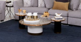Dennes Ceramic Coffee Table & 2 End Tables