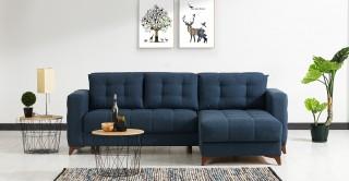 Elza Blue Corner Sofa and Sofa Bed