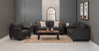 Burgas Sofa Set, Dark Grey