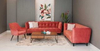 Jonna Sofa Set, Coral
