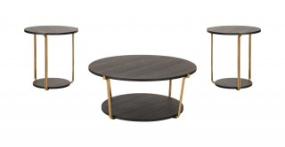 Como Coffee Table & 2 End Tables Set Black Oak/Gold