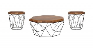 Lowa Coffee Table & 2 End Tables Set Walnut/Black