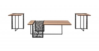 Zaha Coffee Table & 2 End Tables Set Walnut/Black