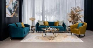 Cerla Sofa Set Blue