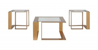 Louella 1Coffee Table + 2End Table Set Glass/Gold