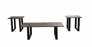Moriah 1Coffee Table+2End Table Set Grey/Black